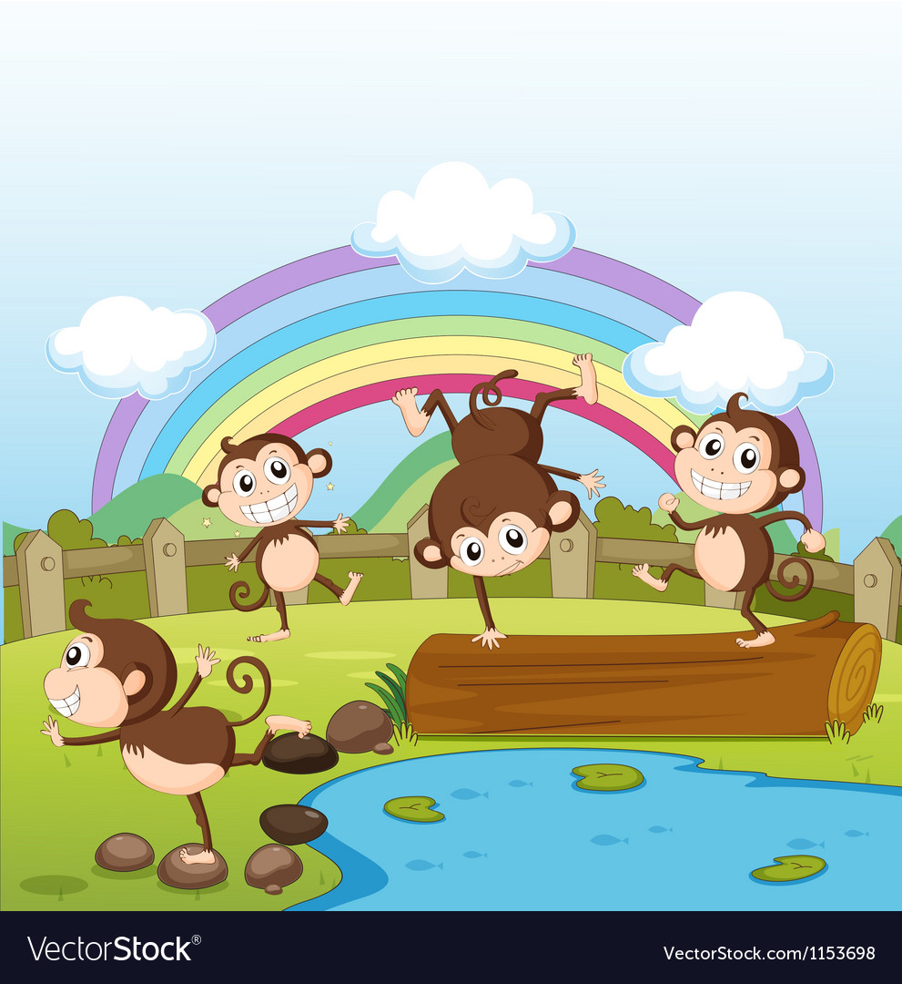 Monkeys and a rainbow vector | Price: 1 Credit (USD $1)