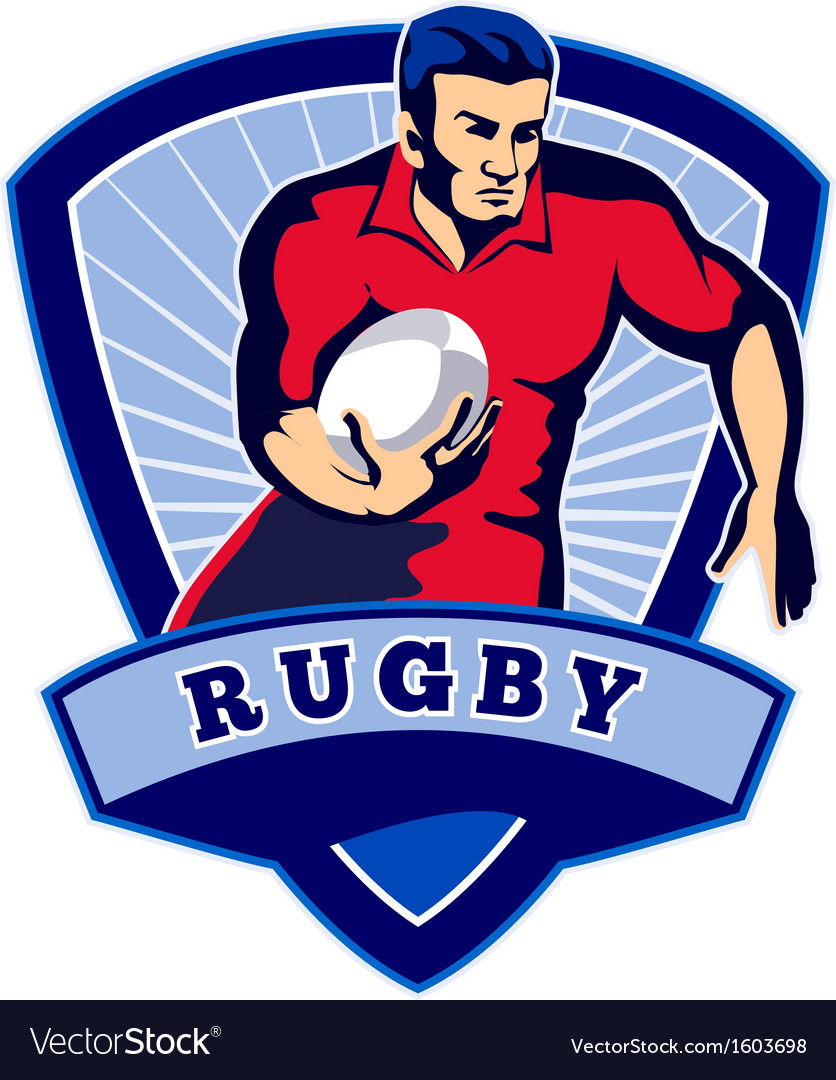 Rugby player running ball front shield vector | Price: 1 Credit (USD $1)