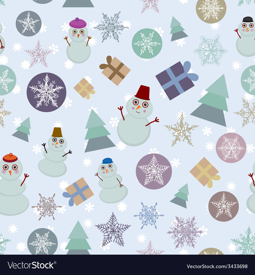Seamless pattern new year snowflake snowman sheep vector | Price: 1 Credit (USD $1)