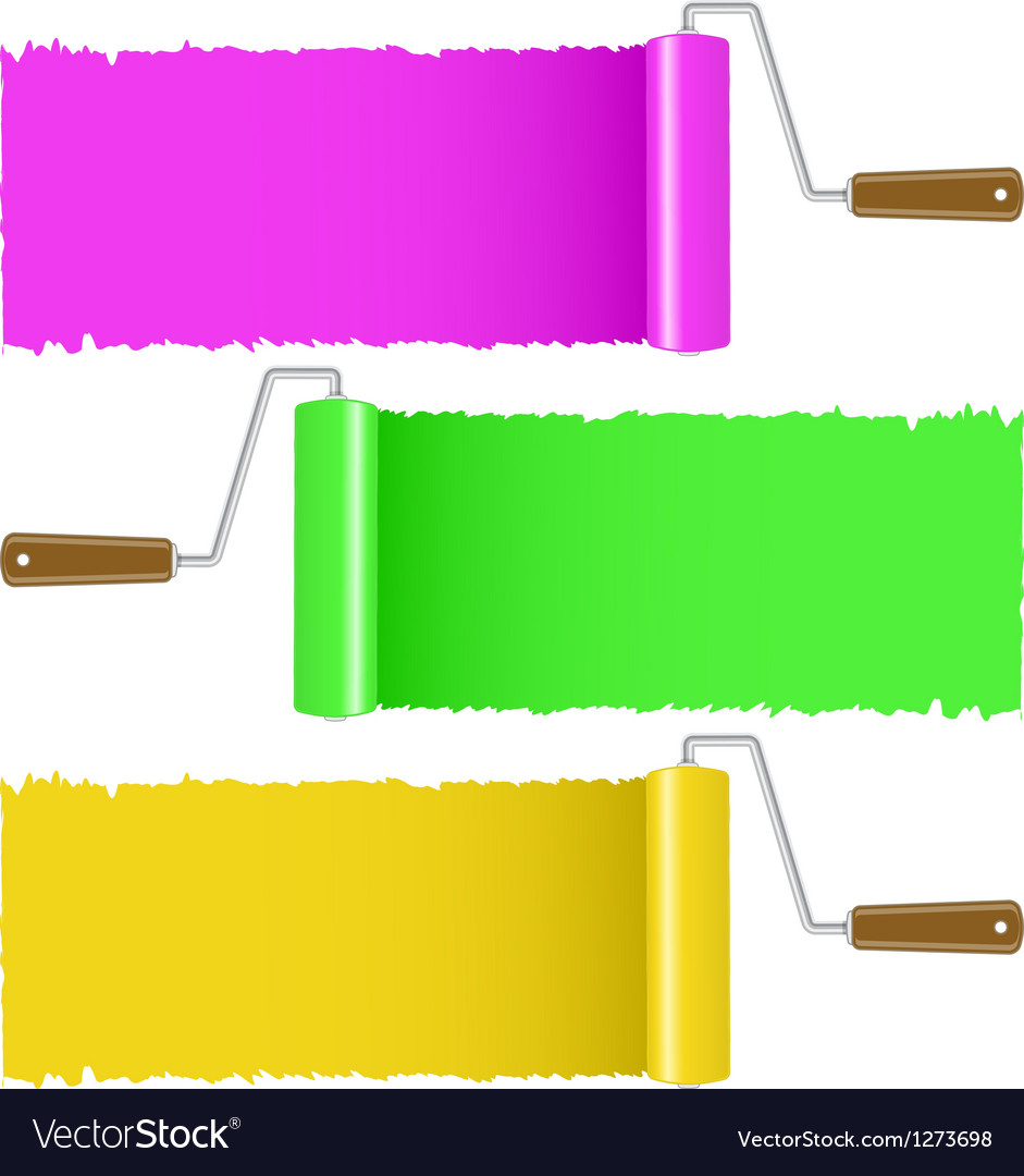 Set of colorful paint roller brush vector | Price: 1 Credit (USD $1)