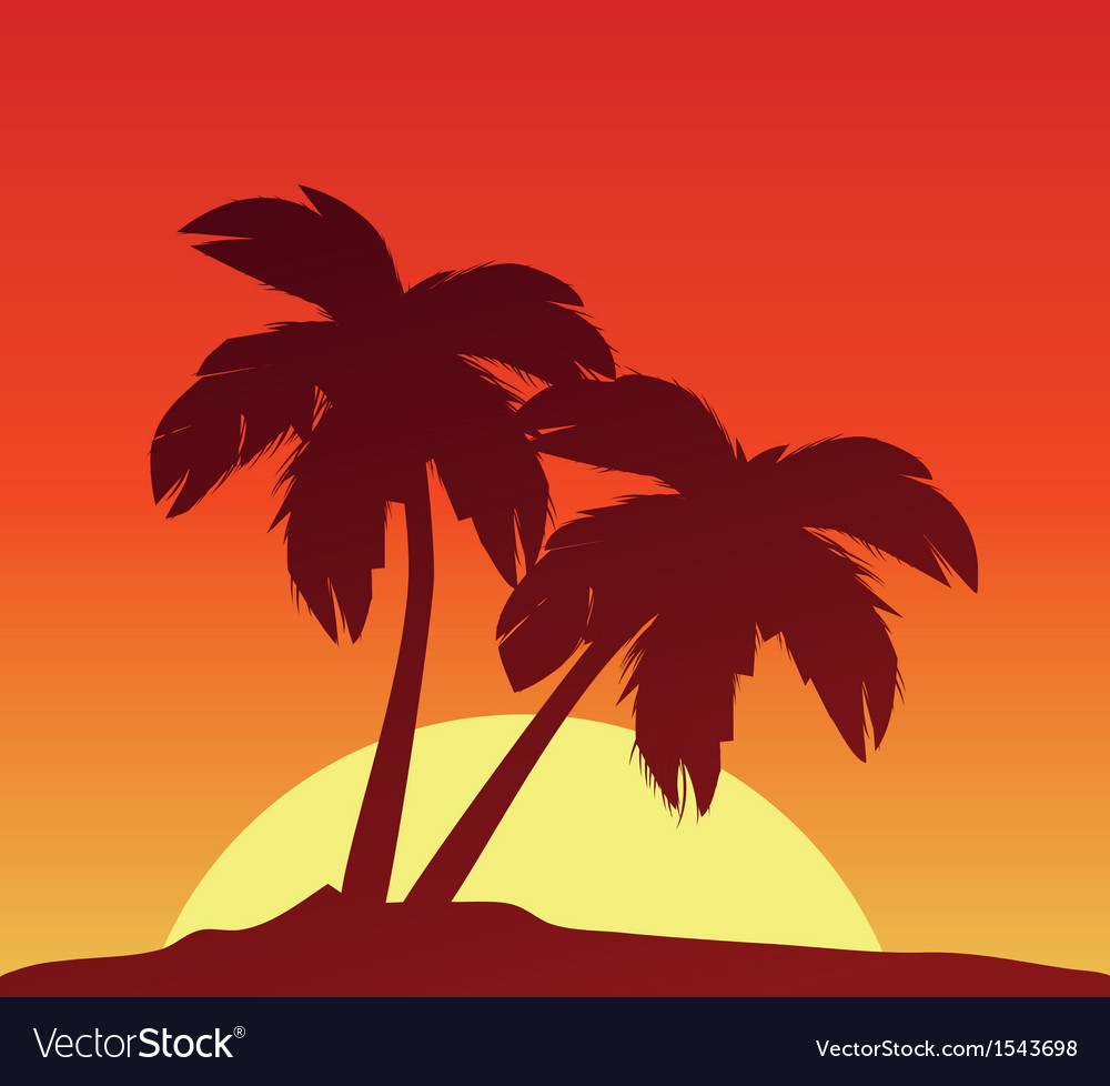Sunset with palms vector | Price: 1 Credit (USD $1)