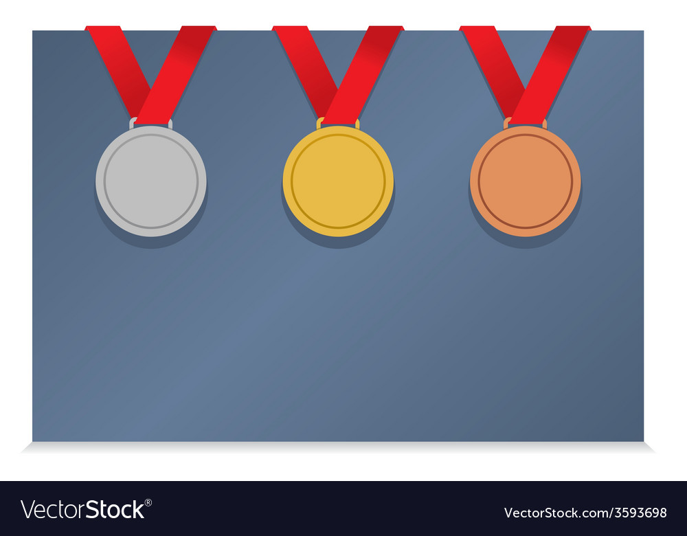 Three medals on blank card vector