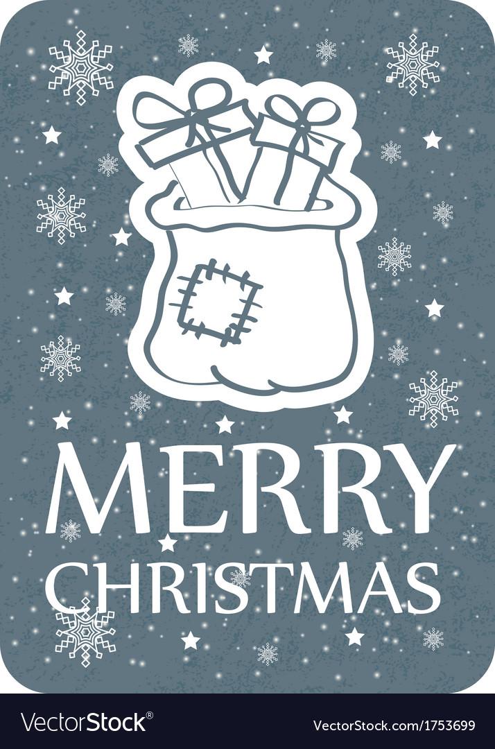 Christmas card with santa bag grey copy vector   Price: 1 Credit (USD $1)