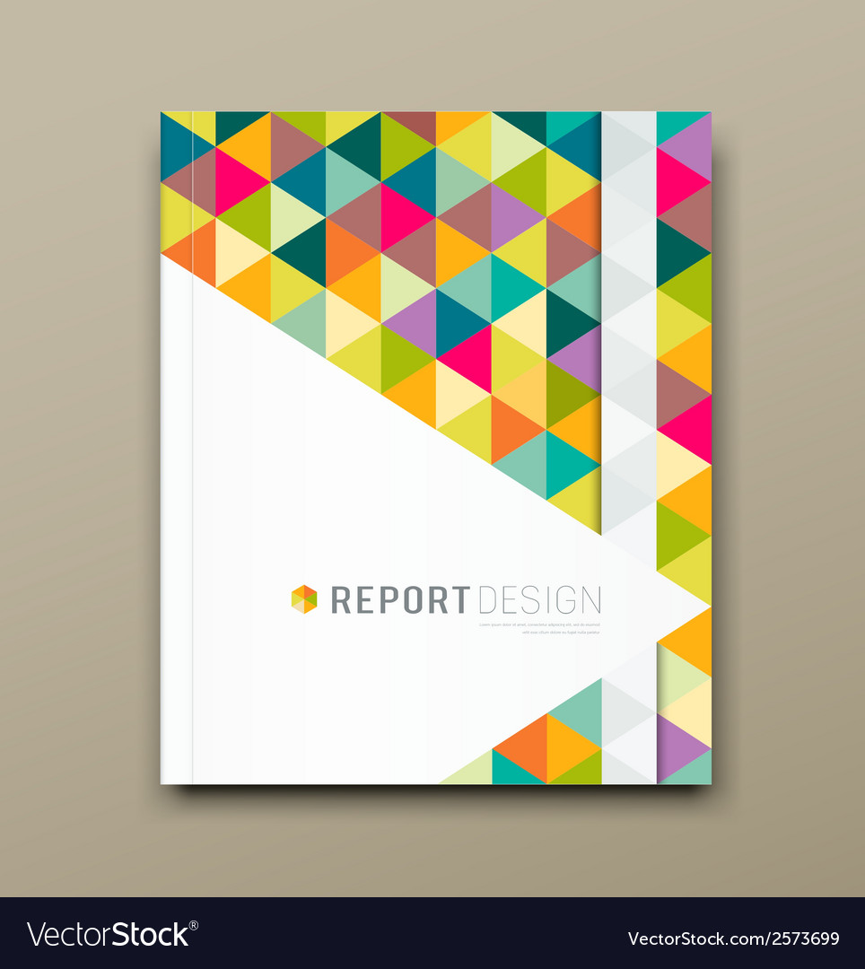 Cover report colorful triangle geometric pattern vector | Price: 1 Credit (USD $1)