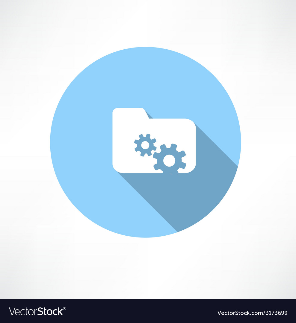 Folder icon with gears vector | Price: 1 Credit (USD $1)