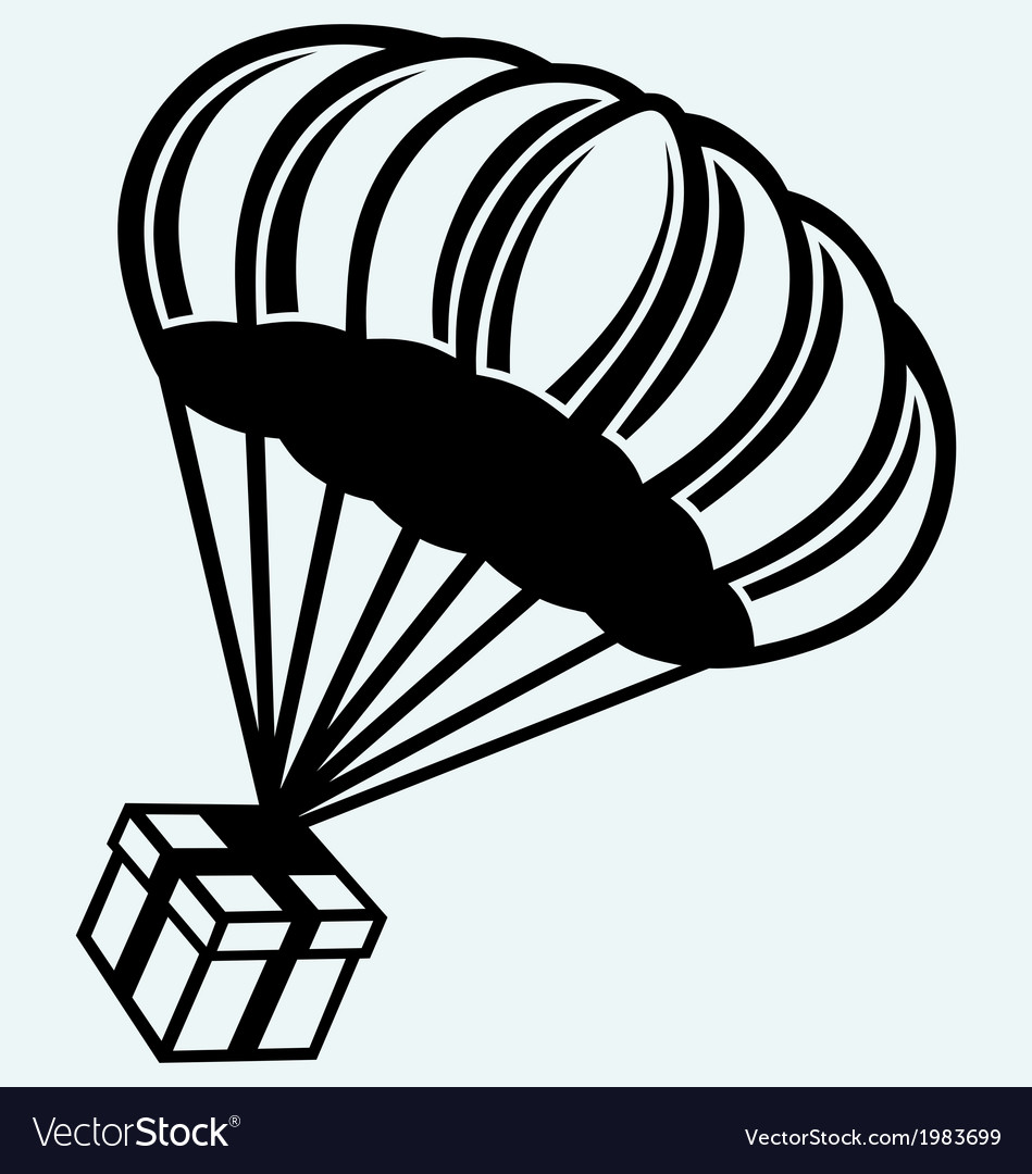 Gift box parachute falling from the sky vector | Price: 1 Credit (USD $1)