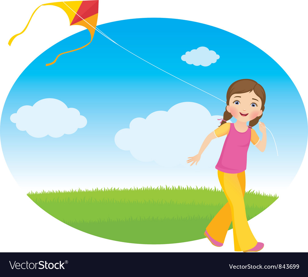 Girl with a kite vector | Price: 3 Credit (USD $3)