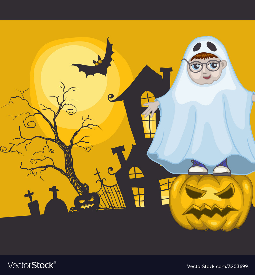 Little ghost and pumpkin halloween background vector | Price: 1 Credit (USD $1)