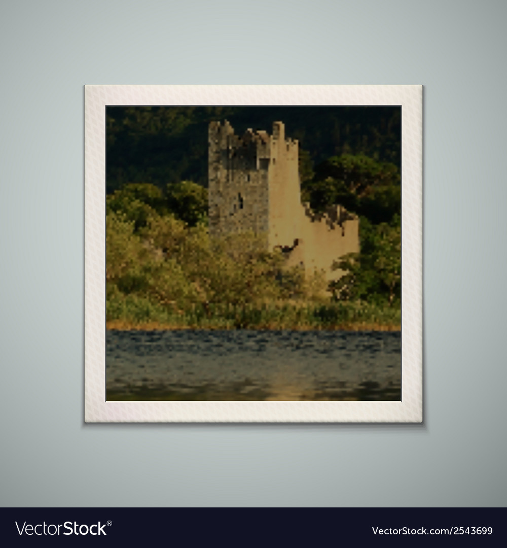 Retro photo frame with castle vector | Price: 1 Credit (USD $1)