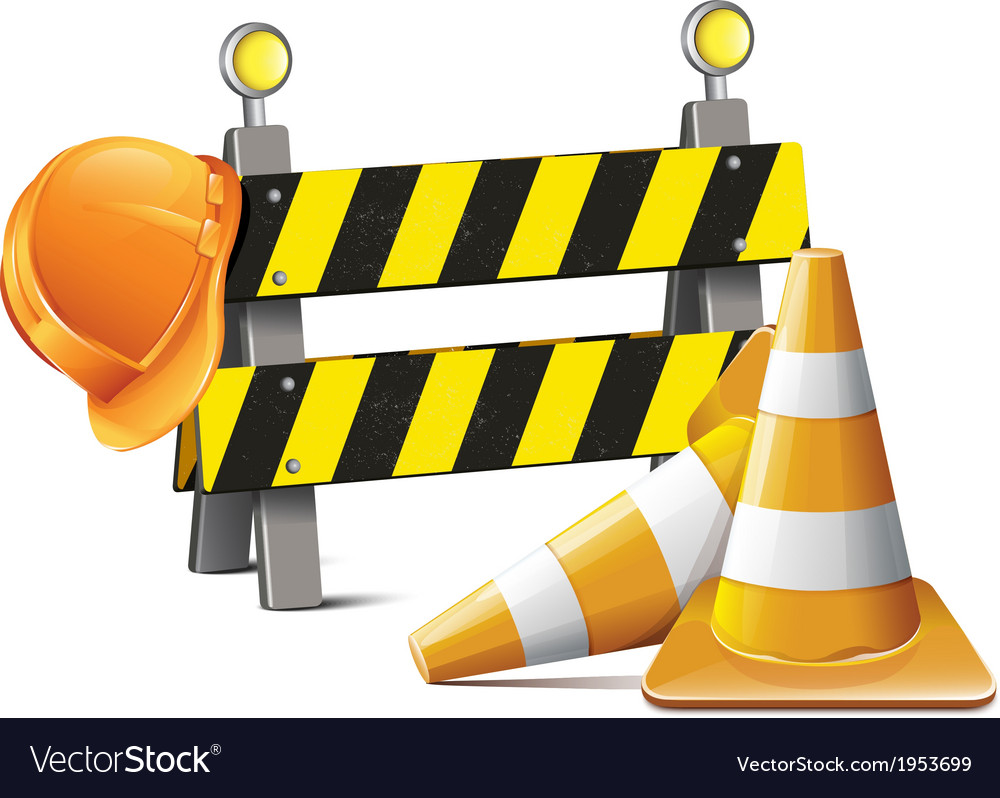 Road barrier with hard hat and traffic cone vector | Price: 1 Credit (USD $1)