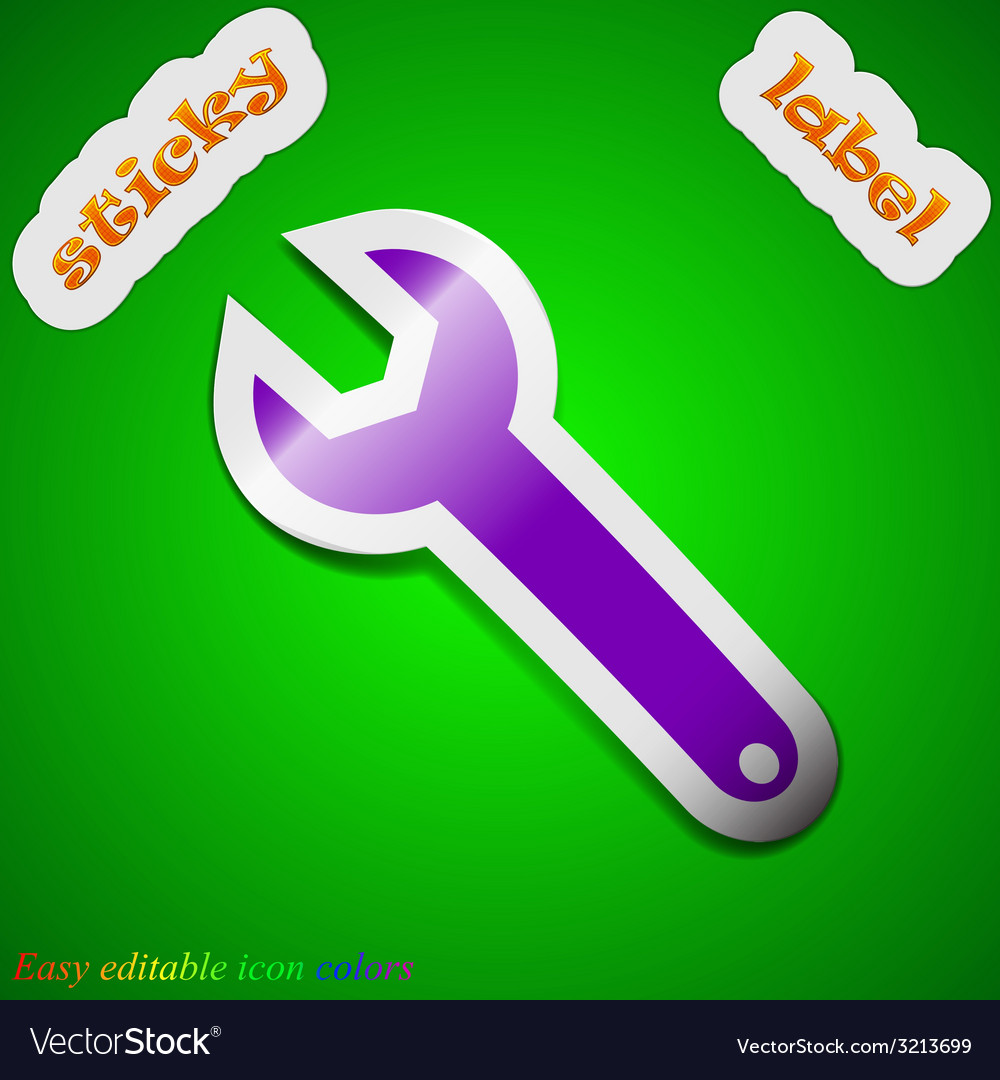 Wrench key icon sign symbol chic colored sticky vector | Price: 1 Credit (USD $1)