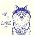 Husky smile doodle vector