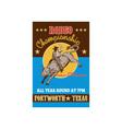 American rodeo cowboy riding a bull vector