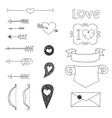Set wedding and valentines day doodles vector