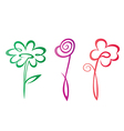 Outlined hand drawn flowers collection vector