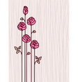 Greeting card with pink stylized roses vector