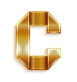 Letter metal gold ribbon - c vector