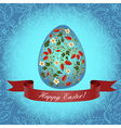Easter floral red ribbon vector