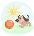 Happy dog on shiny lawn vector