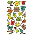 Seamless pattern of garden tools and accessories vector