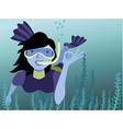 Underwater swimmer holding a pearl vector