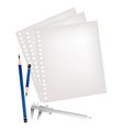 Two pencils and caliper with blank page vector