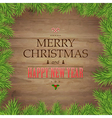 Fir tree branches and christmas text vector