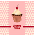 Vintage dessert menu with cherry cream cake vector