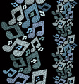 Music theme seamless pattern with notes vertical vector