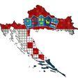 Croatia map with flag inside vector