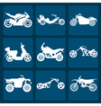 Set of nine icons of motorbikes vector