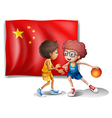 Two boys playing basketball in front of the flag vector