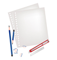 Two pencils and knife with blank page vector