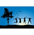 Four friends jumping on field near tree blue sky vector