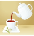 Tea cup and pot vector