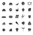 Food icons with reflect on white background vector
