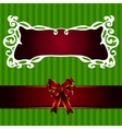 Christmas frame with ribbon label vector