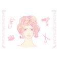 A pretty girl in a hairdresser salon vector