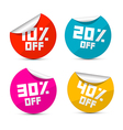 10 off 20 off 30 off 40 off stickers labels vector