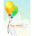 Happy birthday with balloons triangle and ribbon vector