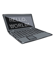 Cartoon laptop with text on its screen vector