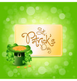 St patricks day card with leprechaun hat vector