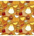 Tea and muffins sweet seamless pattern vector