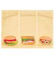 Horizontal grunge background with sandwich set vector