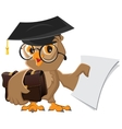Owl holding a briefcase and paper vector