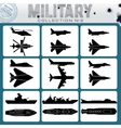 Military planes and warships vector