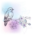 Bird and jasmine branch vector
