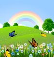 Rainbow butterfly lanscape vector