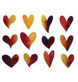Set of watercolor gradient hearts vector