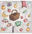 Set of vegetables and fruits with a wicker basket vector